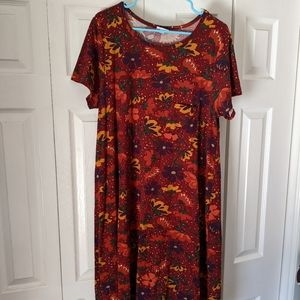 LuLaRoe Carly L red fall color palette floral